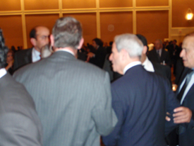 The Confrontation between WCCR US Director, John Hajjar (Left, Facing) and Lebanese Foreign Minister Fawzi Salloukh (Center Right) caught on Camera.