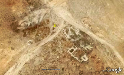 Google image of an earth berm erected by the Syrians inside the Ka'a area. (Google earth)