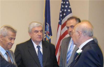 Baini conversing with Rep Ackerman and Tom Harb WCCR and Sami Khouey, President World Maronite Union