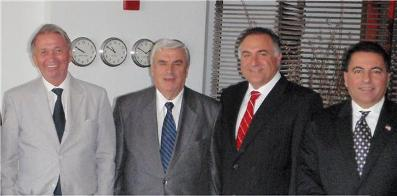 WCCR President Joe Baini at the UN with Ambassador Rod Larsen and WCCR leaders: Tom Harb and Kabalan Fares