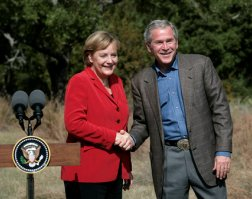 President George W. Bush speaks during a press conference with German Chancellor Angela Merkel at the Bush Ranch in Crawford, Texas, Saturday, Nov. 10, 2007. White House photo by Shealah Craighead
