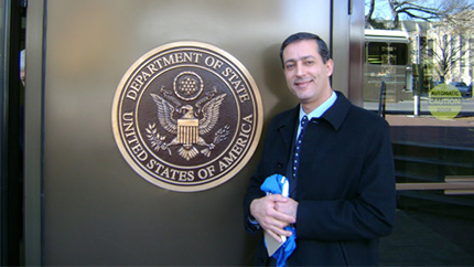 Lebanese Fulbright alumnus Dr. Ziad Fahed stands outside the United States Department of State in Washington, D.C.Photo Credit,U.S. Department of State