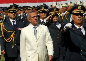 Lebanese President Michel Suleiman at a ceremony marking Lebanon's 63rd Army Day at a military barracks in the Beirut suburb of Fayadiyeh, on Aug. 1, 2008. (AP Photo/Mahmoud Tawil)