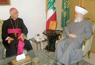 Mufti Mohamad Rachid Kabani Meets Bishop Youssef Khoury. Saturday, August 09, 2008 (Dalati-Nohra NNA,LB)