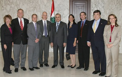 The US delegation with Lebanese president Michel Suleiman at the Baabda Republican palace, east of Beirut , Lebanon on Jan 30, 2009